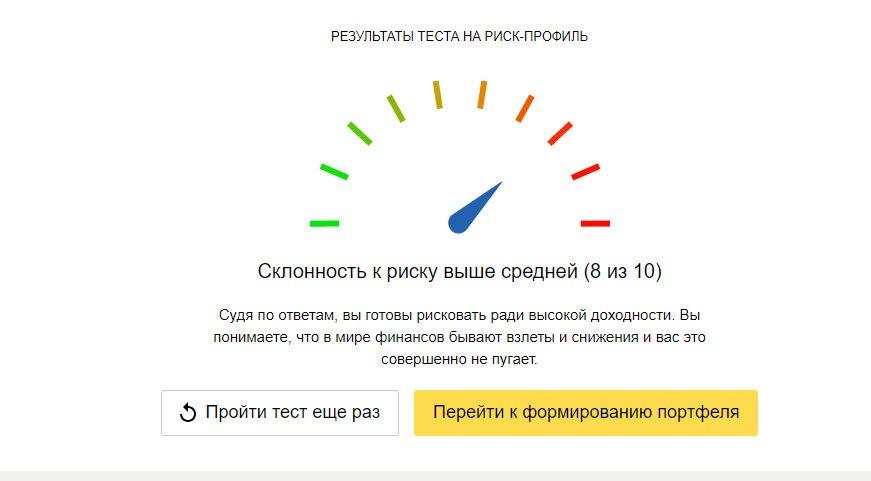 Риск профиль Яндекс Yammi