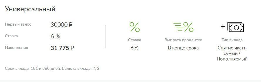 Вклад Универсальный в банке Русский стандарт